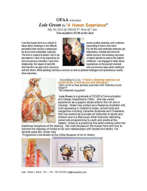 "OFAA welcomes   Lois Green for ""A Human Experience"" July 26, 2016 @ OMAH 3rd. floor @ 7 pm"